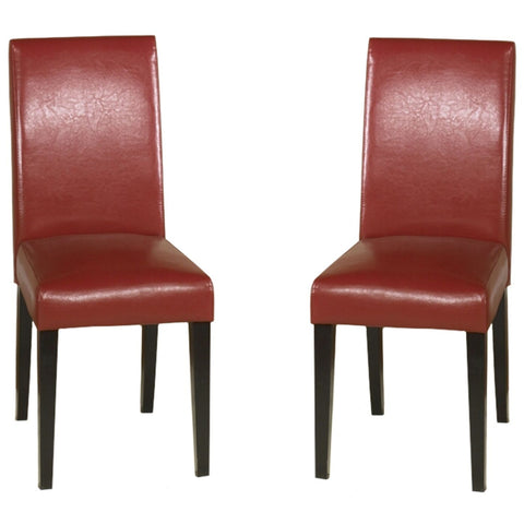 Red Bonded Leather Side Chair Md-014 (Set Of 2) Dining