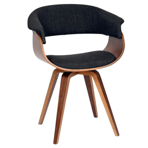 Summer Modern Chair In Charcoal Fabric And Walnut Wood Dining