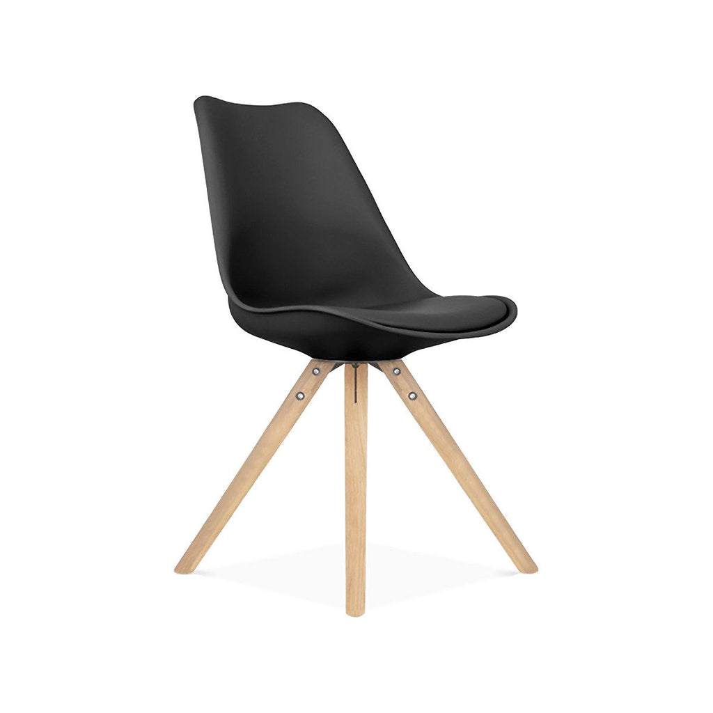 Dining Chairs - Design Lab MN LS-1000-BLKNAT Viborg Mid Century Black Side Chair with Natural Wood Base (Set of 2) | 638264259706 | Only $154.80. Buy today at http://www.contemporaryfurniturewarehouse.com