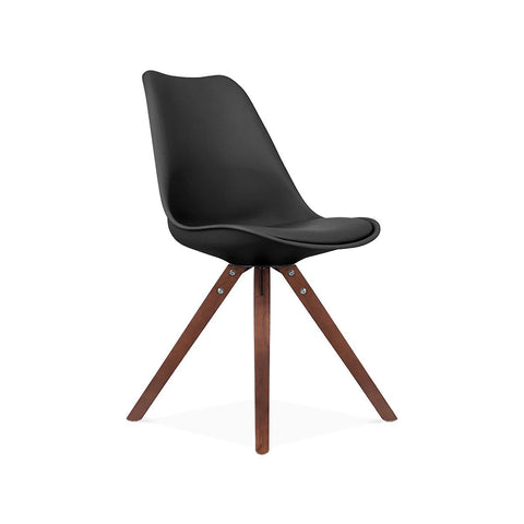 Design Lab MN Viborg Mid Century Black Side Chair with Walnut Wood Base (Set of 2) LS-1000-BLKWAL | 638264259713| $154.80. Dining Chairs - . Buy today at http://www.contemporaryfurniturewarehouse.com