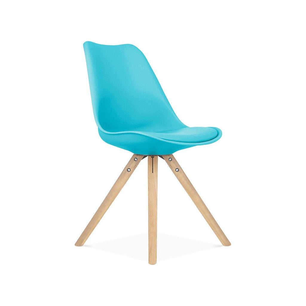Dining Chairs - Design Lab MN LS-1000-BLUNAT Viborg Mid Century Blue Side Chair with Natural Wood Base (Set of 2) | 638264259829 | Only $154.80. Buy today at http://www.contemporaryfurniturewarehouse.com