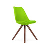 Viborg Mid Century Green Side Chair with Walnut Wood Base (Set of 2)