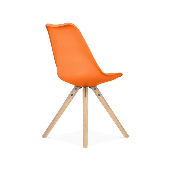 Dining Chairs - Design Lab MN LS-1000-ORANAT Viborg Mid Century Orange Side Chair with Natural Wood Base (Set of 2) | 638264259782 | Only $154.80. Buy today at http://www.contemporaryfurniturewarehouse.com
