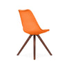 Dining Chairs - Design Lab MN LS-1000-ORAWAL Viborg Mid Century Orange Side Chair with Walnut Wood Base (Set of 2) | 638264259799 | Only $154.80. Buy today at http://www.contemporaryfurniturewarehouse.com
