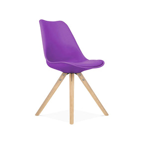 Viborg Purple Mid Century Side Chair Natural Base (Set Of 2) Dining