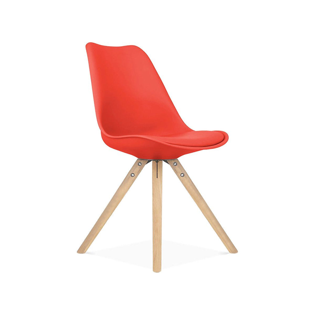 Dining Chairs - Design Lab MN LS-1000-REDNAT Viborg Mid Century Red Side Chair with Natural Wood Base (Set of 2) | 638264259768 | Only $154.80. Buy today at http://www.contemporaryfurniturewarehouse.com