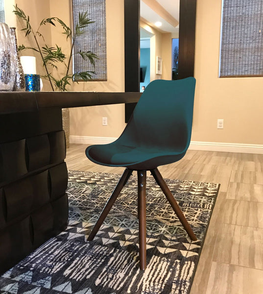 Dining Chairs - Design Lab MN LS-1000-TEAWAL Viborg Deep Teal Mid Century Side Chair Walnut Base (Set of 2) | 646263991701 | Only $144.80. Buy today at http://www.contemporaryfurniturewarehouse.com