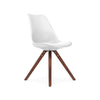 Dining Chairs - Design Lab MN LS-1000-WHTWAL Viborg Mid Century White Side Chair with Walnut Wood Base (Set of 2) | 638264259737 | Only $154.80. Buy today at http://www.contemporaryfurniturewarehouse.com