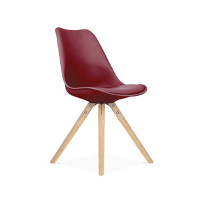 Dining Chairs - Design Lab MN LS-1000-WRDNAT Viborg Wine Red Mid Century Side Chair Natural Base (Set of 2) | 646263991718 | Only $144.80. Buy today at http://www.contemporaryfurniturewarehouse.com