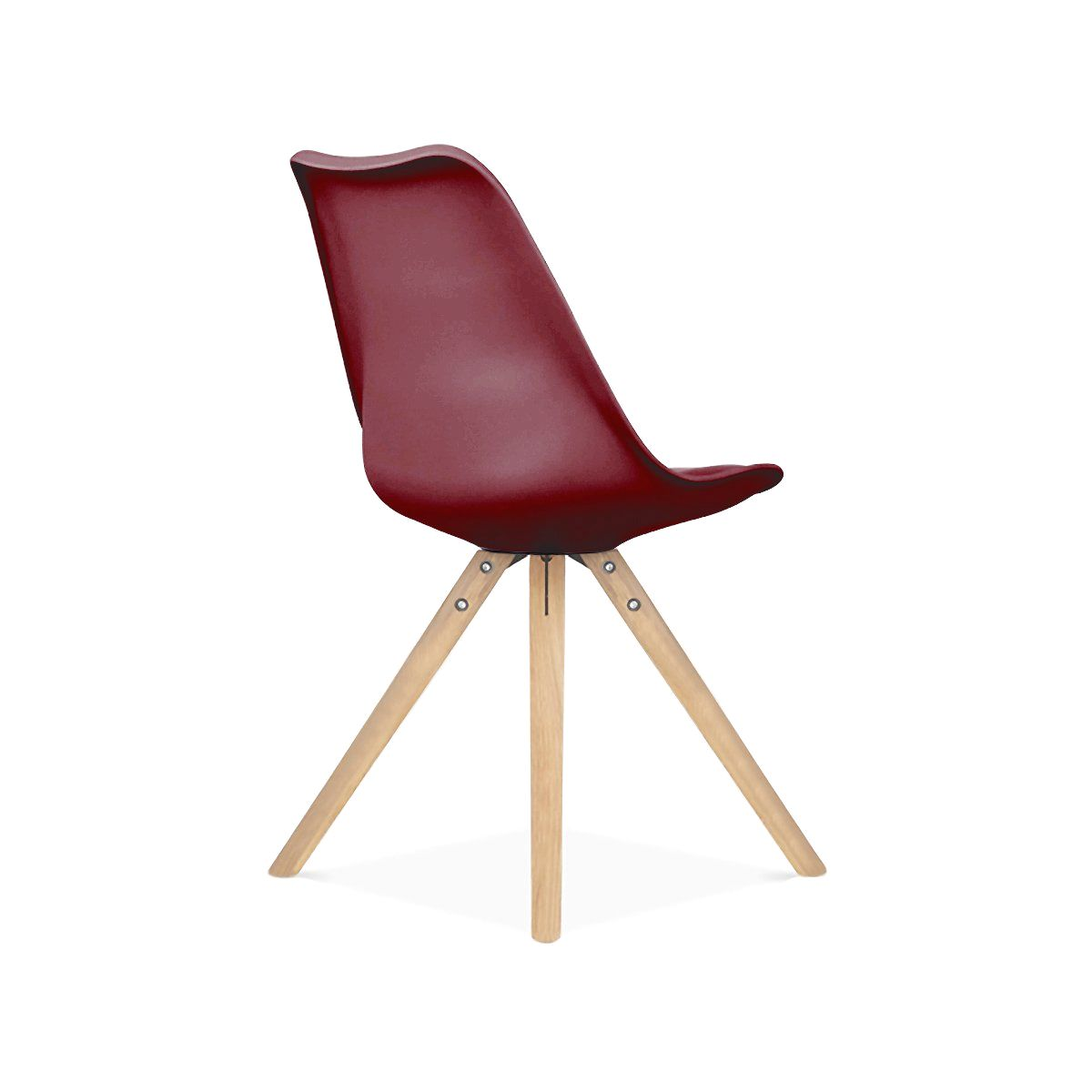 ... Design Lab MN Viborg Wine Red Mid Century Side Chair Natural Base (Set  Of 2 ...