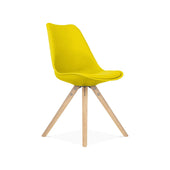 Design Lab MN Viborg Mid Century Yellow Side Chair with Natural Wood Base (Set of 2) LS-1000-YLWNAT | 638264259805| $154.80. Dining Chairs - . Buy today at http://www.contemporaryfurniturewarehouse.com