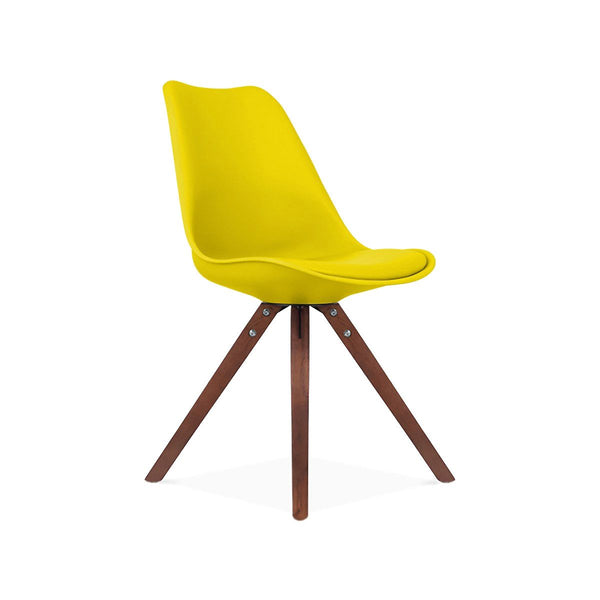 Dining Chairs - Design Lab MN LS-1000-YLWWAL Viborg Mid Century Yellow Side Chair with Walnut Wood Base (Set of 2) | 638264259812 | Only $154.80. Buy today at http://www.contemporaryfurniturewarehouse.com