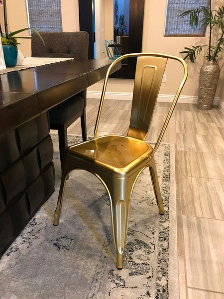 Dining Chairs - Design Lab MN Sundsvall Stackable Chrome Gold Steel Side Chair (Set of 4) | LS-9000-CGLD | 638264259997| $319.80. Buy it today at www.contemporaryfurniturewarehouse.com
