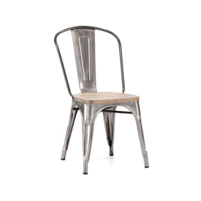 Dining Chairs - Design Lab MN LS-9000-GUNLW Sundsvall Clear Gunmetal + Light Elm Wood Seat Stackable Steel Side Chair (Set of 4) | 638264259508 | Only $319.80. Buy today at http://www.contemporaryfurniturewarehouse.com