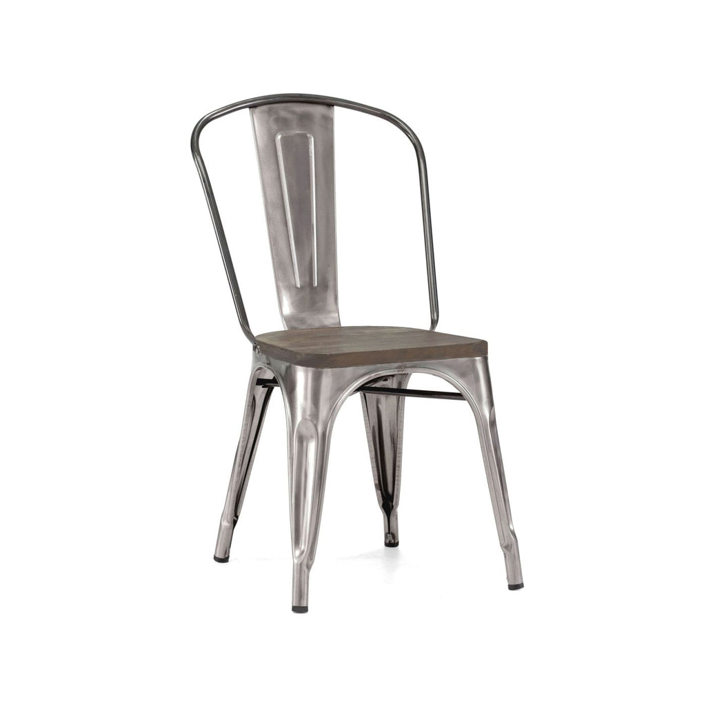 Sundsvall Clear Gunmetal + Elm Wood Seat Stackable Steel Side Chair (Set Of 4) Dining