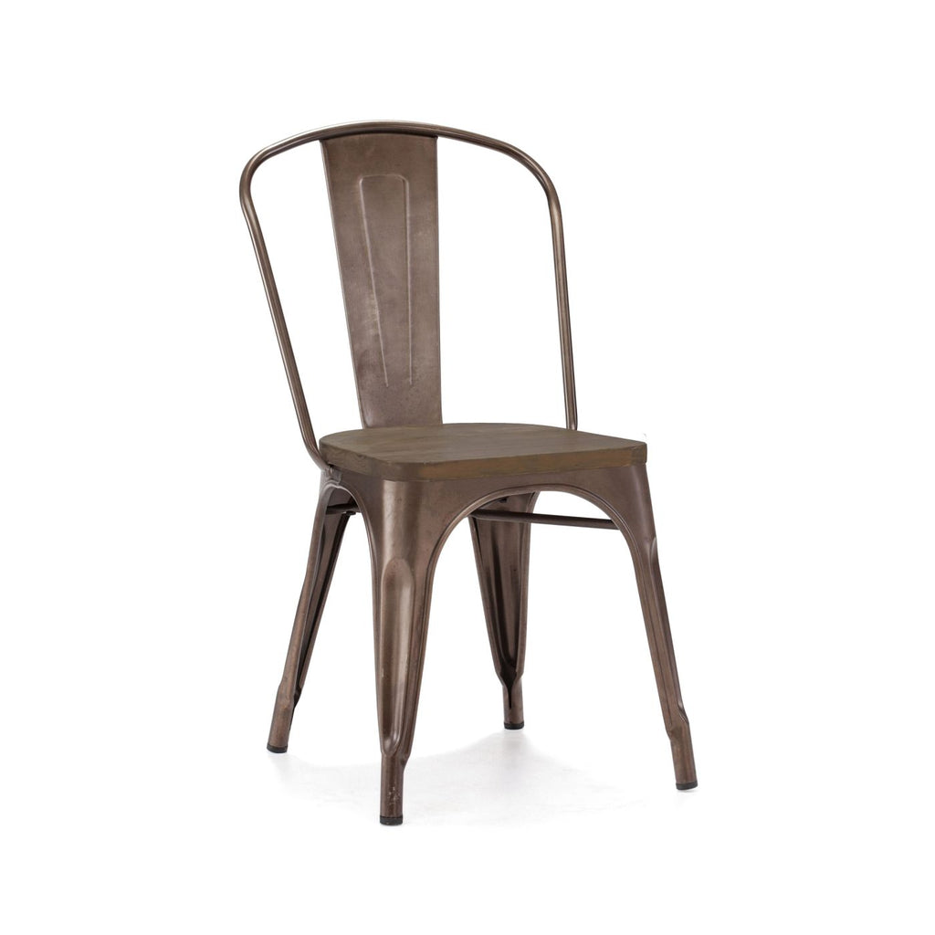Sundsvall Steel Stackable Rustic Matte + Elm Wood Seat Side Chair (Set Of 4) Dining
