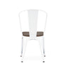 Sundsvall Steel Stackable Glossy White + Elm Wood Seat Side Chair (Set Of 4) Dining