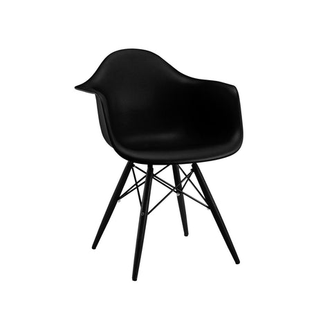 Design Lab MN Trige Black Arm Chair with Black Wood Base (Set of 2) LS-9340-BLKBLK | 640746589256| $164.80. Dining Chairs - . Buy today at http://www.contemporaryfurniturewarehouse.com