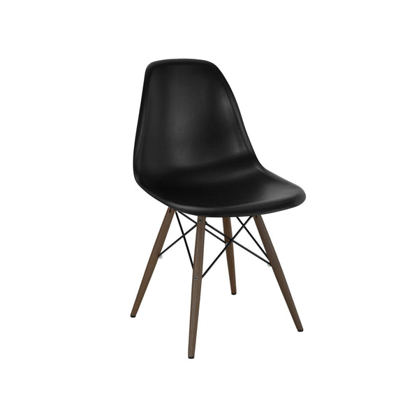 Design Lab MN Trige Black Side Chair with Walnut Wood Base (Set of 5) LS-9400-BLKWAL | 637262593850| $294.80. Dining Chairs - . Buy today at http://www.contemporaryfurniturewarehouse.com