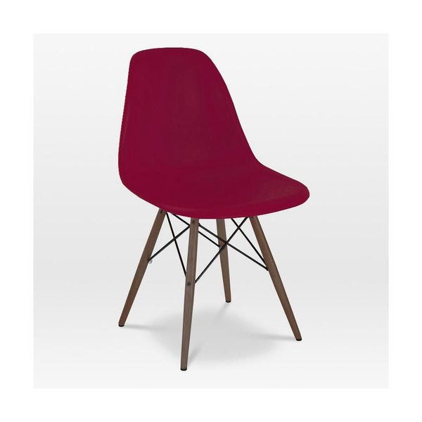 Trige Claret Side Chair With Walnut Wood Base (Set Of 5) Dining