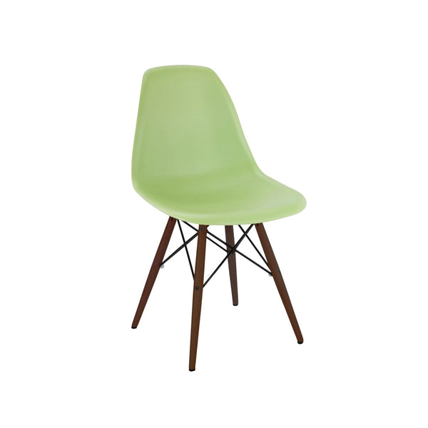 Trige Lorem Green Side Chair With Walnut Wood Base (Set Of 5) Dining
