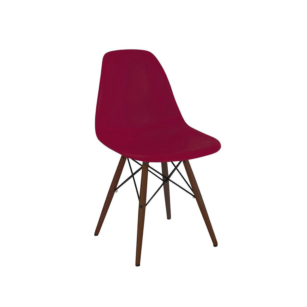 Trige Claret Side Chair With Walnut Wood Base (Set Of 2) Dining