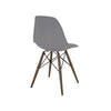 Trige Dark Grey Side Chair With Walnut Wood Base (Set Of 2) Dining