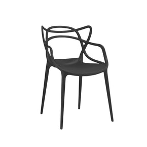 Masters Polypropylene Black Modern Stackable Arm Chair (Set Of 4) Dining