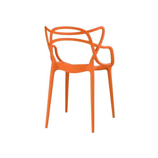 Masters Polypropylene Orange Modern Stackable Arm Chair (Set Of 4) Dining