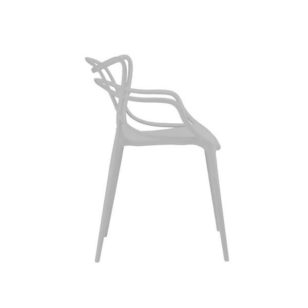 Masters Polypropylene Platinum Modern Stackable Arm Chair (Set Of 4) Dining