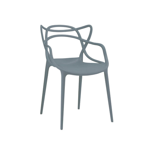Masters Polypropylene Slate Modern Stackable Arm Chair (Set Of 4) Dining