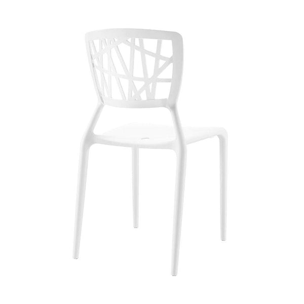 Dining Chairs - Design Lab MN LS-9601-WHT Vocci White Modern Stackable Side Chair (Set of 4) | 646263990988 | Only $209.80. Buy today at http://www.contemporaryfurniturewarehouse.com