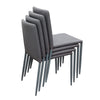Stackable Dining Chair In Grey With Metal Legs (Set Of 2)
