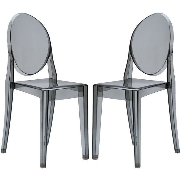 Dining Chairs - EdgeMod EM-102-SMK-X2 Burton Ghost Side Chair In Smoke (Set of 2) | 641061720478 | Only $174.80. Buy today at http://www.contemporaryfurniturewarehouse.com