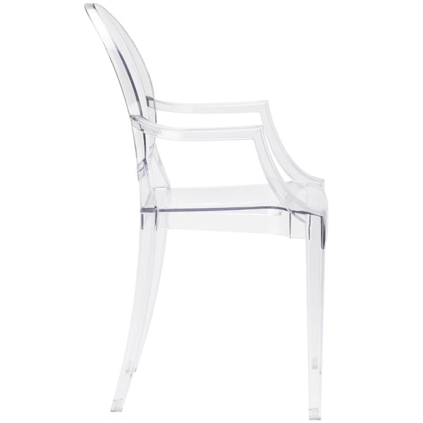 Burton Ghost Arm Chair In Clear (Set Of 2) Dining