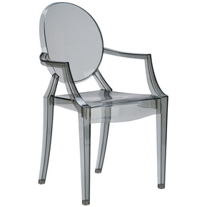 Dining Chairs - EdgeMod EM-103-SMK-X2 Burton Ghost Arm Chair In Smoke (Set of 2) | 641061724469 | Only $184.80. Buy today at http://www.contemporaryfurniturewarehouse.com