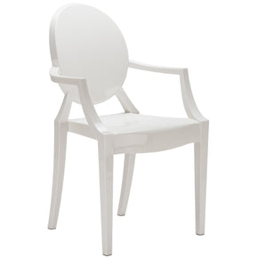 Dining Chairs - EdgeMod EM-103-WHI-X2 Burton Ghost Arm Chair In White (Set of 2) | 641061724476 | Only $184.80. Buy today at http://www.contemporaryfurniturewarehouse.com