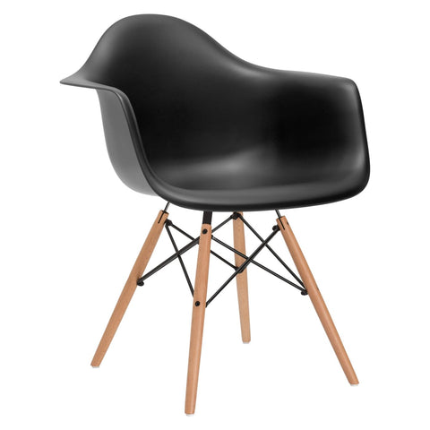 Dining Chairs - EdgeMod EM-110-NAT-BLK Vortex Arm Chair in Black | 616806869125 | Only $83.60. Buy today at http://www.contemporaryfurniturewarehouse.com