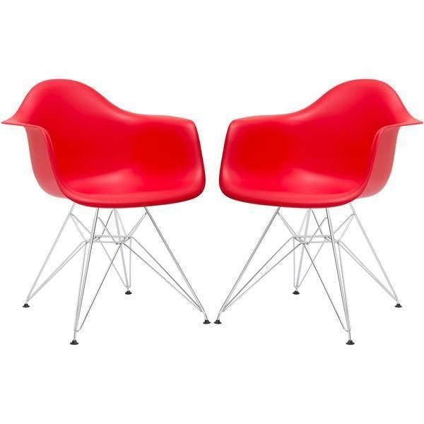 Padget Arm Chair In Red (Set Of 2) Dining