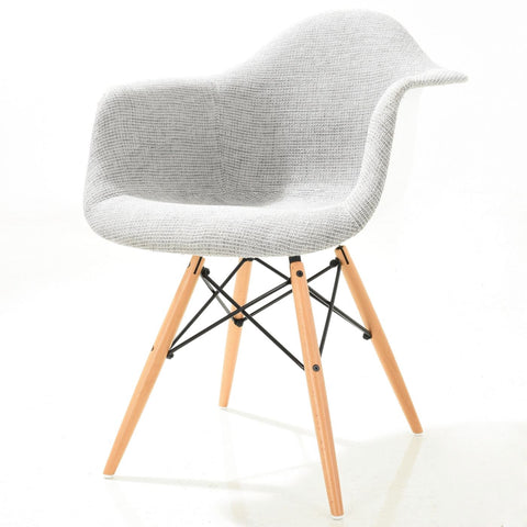 Vortex Padded Arm Chair With Natural Base In Light Grey Dining