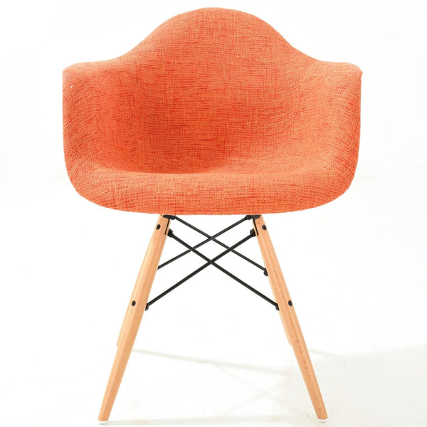 Vortex Padded Arm Chair With Natural Base In Orange Dining