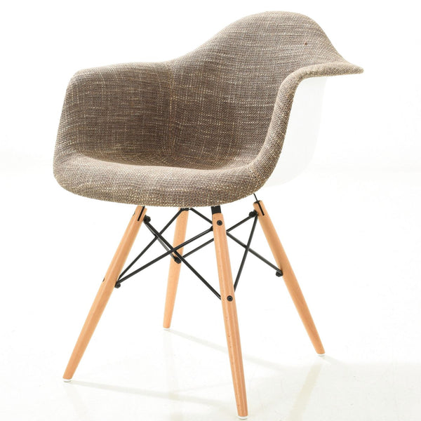 Vortex Padded Arm Chair With Natural Base In Taupe Dining