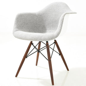 Dining Chairs - EdgeMod EM-194-WAL-LGR Vortex Padded Arm Chair with Walnut Base in Light Grey | 638455928220 | Only $171.50. Buy today at http://www.contemporaryfurniturewarehouse.com