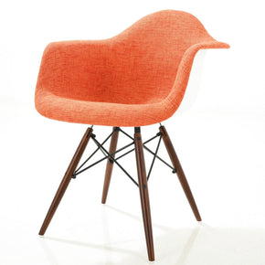 Vortex Padded Arm Chair With Walnut Base In Orange Dining