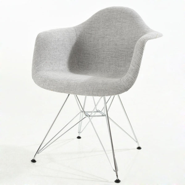 Dining Chairs - EdgeMod EM-223-CRM-LGR Padget Padded Arm Chair in Light Grey | 638455927865 | Only $171.50. Buy today at http://www.contemporaryfurniturewarehouse.com