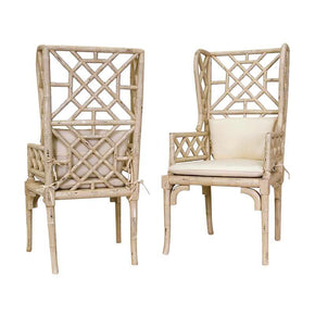 Bamboo Wing Back Chair Cream Set Of 2 Dining