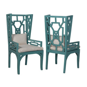 Manor Wing Chairs In Deep Teal - Set Of 2 Dining Chair