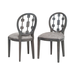 Cecile Chair In Antique Smoke And Grey Fabric Clean (Set Of 2) Dining