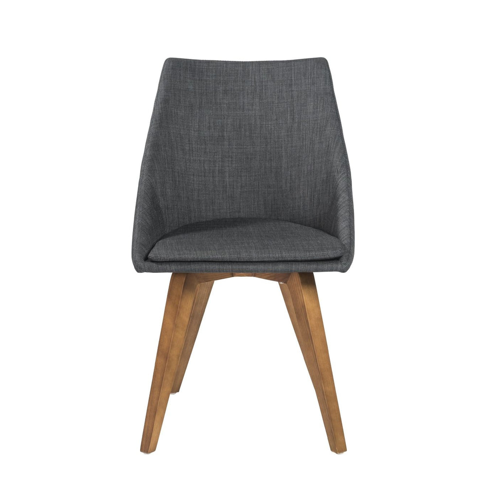 Superieur Calla Side Chair In Charcoal Fabric With Walnut Legs   Set Of 2 Dining ...