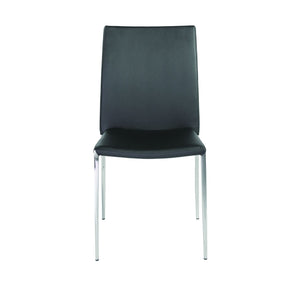 Diana Stacking Side Chair In Black With Polished Stainless Steel Legs - Set Of 4 Dining